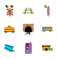 Railway station icons set cartoon style vector