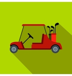 Red golf car flat icon vector