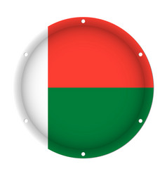 Round metallic flag of madagascar with screw holes vector