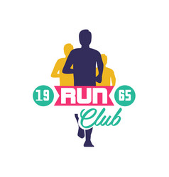 Run club logo estd 1965 emblem with abstract vector