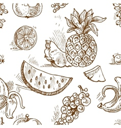 Seamless pattern of tropical fruit doodles vector image