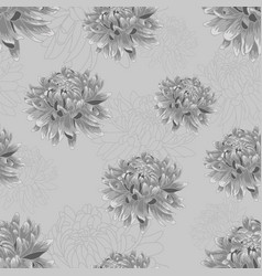 Seamless pattern with silver chrysanthemums vector
