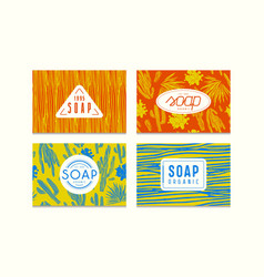 Set of seamless pattern and labels for soap vector