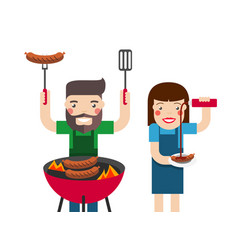 Smiling man and woman cooking barbecue vector