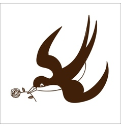 Swallow with rose isolated on white vector image vector image