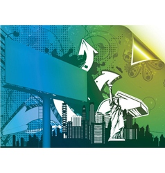 urban poster with 3d arrows and billboard vector image vector image