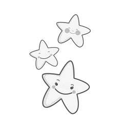 White kawaii happy stars expression vector