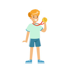 young boy with a first place medal kids vector image