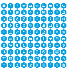 100 beauty salon icons set blue vector image vector image