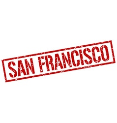 San francisco red square stamp vector