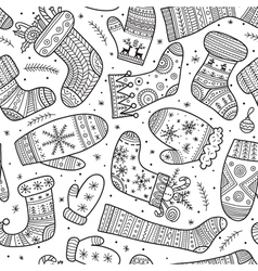 Christmas mittens and socks mix seamless pattern vector