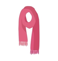 Red knitted scarf isolated on white background vector