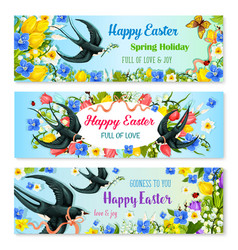 Easter holiday banner with spring flower and bird vector