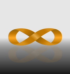 Golden infinity symbol with reflect vector