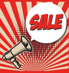 sale old style megaphone on grunge background vector image