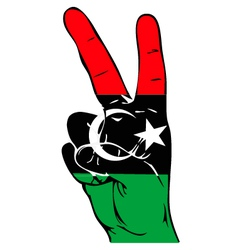 Peace sign of the libyan flag vector