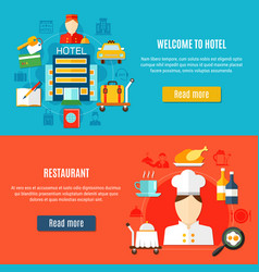 Welcome to hotel and restaurant service banners vector