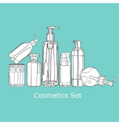Set of cosmetics for skin care vector