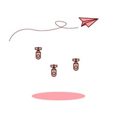 Isolated cartoon pink paper airplane and love bomb vector image