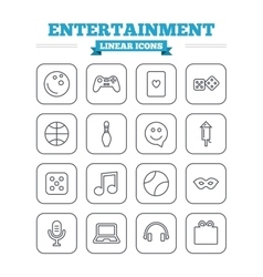 Entertainment linear icons set thin outline signs vector