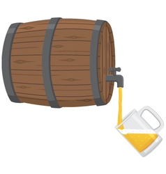 Pouring beer from a keg into a glass mug vector