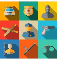 Set of flat police icons - gun car crime scene vector