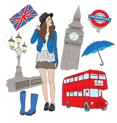 Girl and elements of london vector