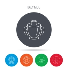 Toddler spout cup icon baby mug sign vector