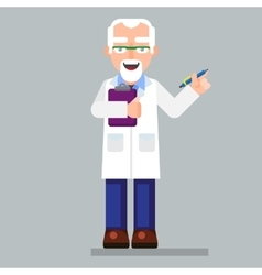 Old scientist character wearing glasses and lab vector