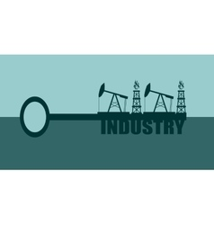 Key with industry word and mining equipment icons vector