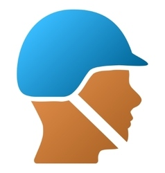 Soldier helmet gradient icon vector