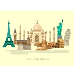 High quality detailed world landmarks vector