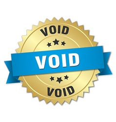 Void 3d gold badge with blue ribbon vector