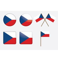 Badges with flag of czech republic vector