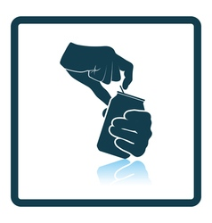 Human hands opening aluminum can icon vector