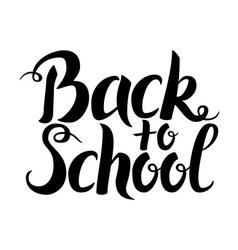 Black Back to School Lettering over White vector image