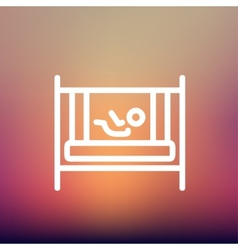Baby inside the crib thin line icon vector image