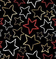Black pattern with gold star doodles for xmas vector
