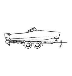 boat with trailer transport maritime image vector image vector image