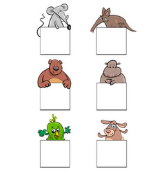 Cartoon animal characters with cards set vector