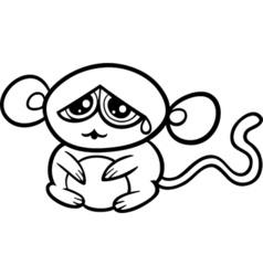 cartoon sad monkey coloring page vector image vector image
