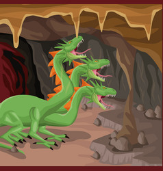 cave interior background with hydra mythological vector image vector image