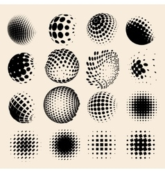 Collection of halftone sphere logo set vector image vector image