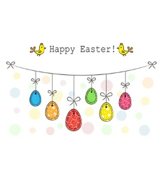 Easter eggs hanging on a rope vector