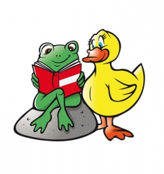 frog duck reading vector image vector image