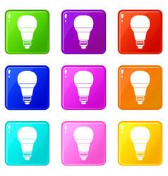 Glowing led bulb icons 9 set vector