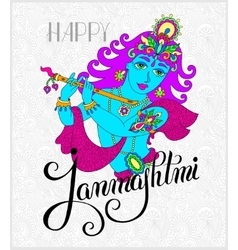 God lord krishna with hand lettering inscription vector