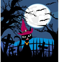 Halloween cat on cemetery vector image