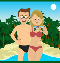Happy couple taking selfie picture at beach vector