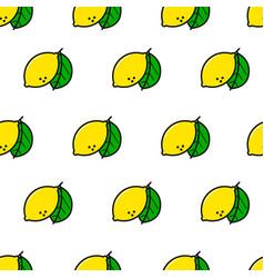 Lemon simple line style seamless pattern vector